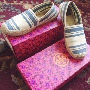 tory burch • awning striped espadrille flats